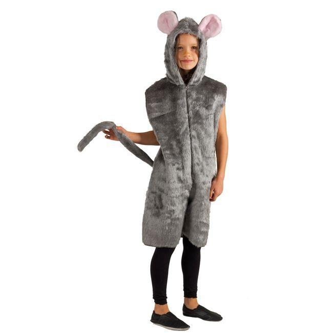 Graue Mause Kostüm für Kinder Gr. 98-128 Tierkostüm Fasching Karneval Kinderfasching Mottoparty Unisex für Mädchen und Jungen