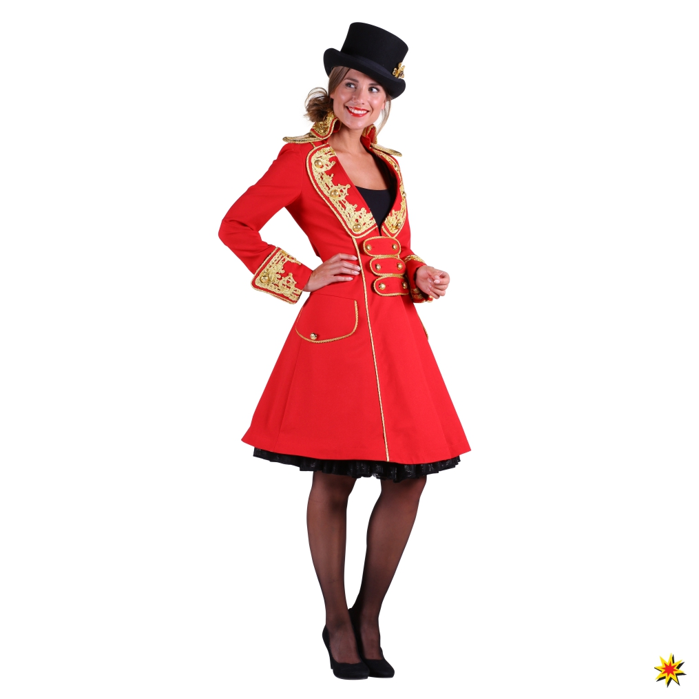 Kostüm Zirkusdirektorin Mantel rot Gehrock Fasching Zirkus Manege