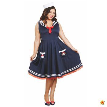 XXL Kostüm Matrosin, Kleid blau
