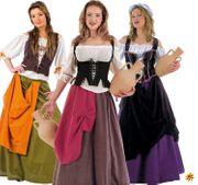 Damen Kostüm Wirtin Magd Bäuerin Mittelaltermode Mittelalterfest Fasching Karneval Mottoparty