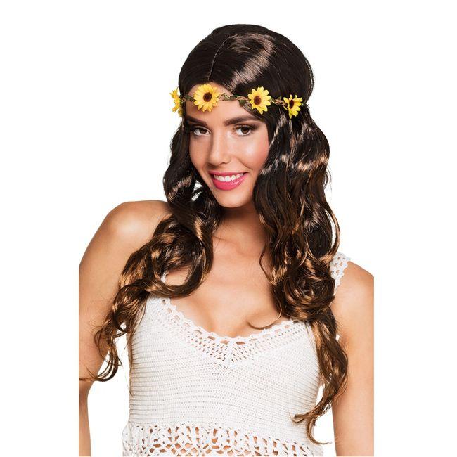 Damen Hippie Perücke Sonnenblume Flower Power Kostüm-Zubehör Fasching Karneval Mottoparty Schlagermove
