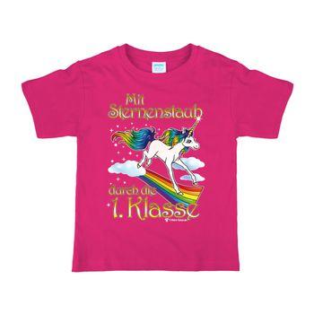 Schulanfang Kinder T-Shirt Einhorn Sternenstaub, pink