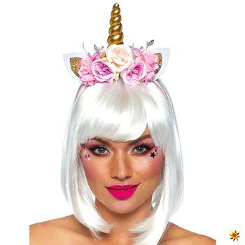 Haarreif Märchen Einhorn mit Blumen, Einhornkostüm Zubehör