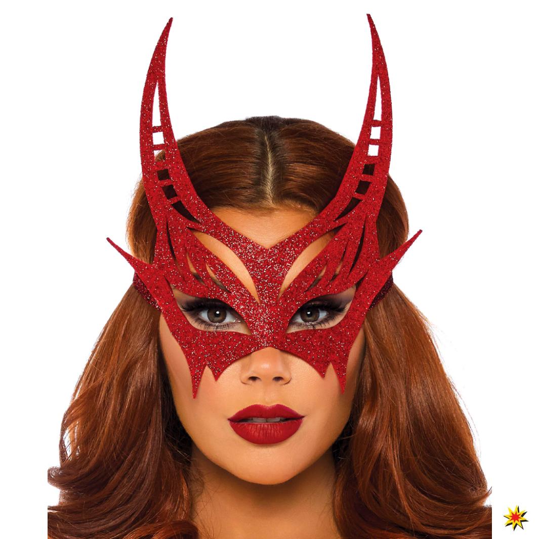 Teufelmaske rot glitzern Fasching Karneval