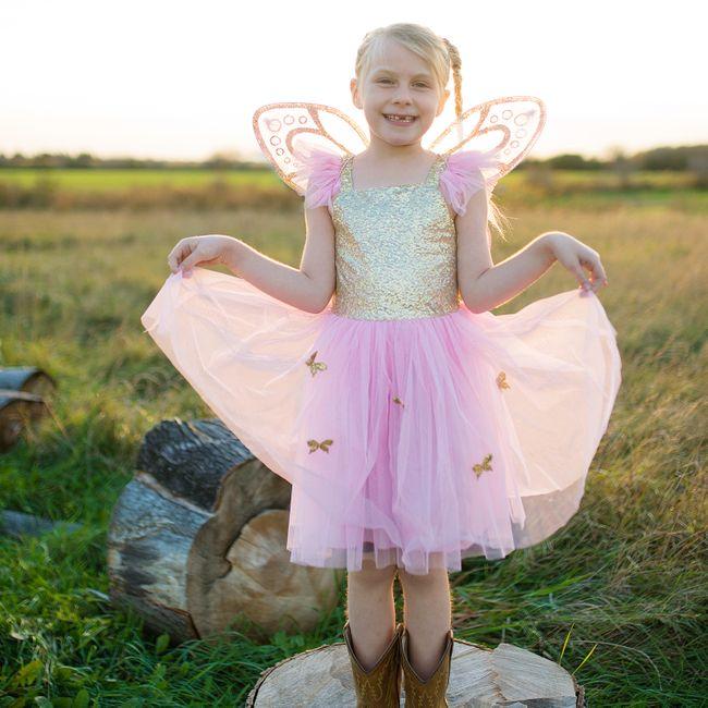 Schmetterling Kostüm Kleid mit Flügel für Kinder 5-7 Jahre rosa Fasching Karneval Mottoparty Kindergeburtstag