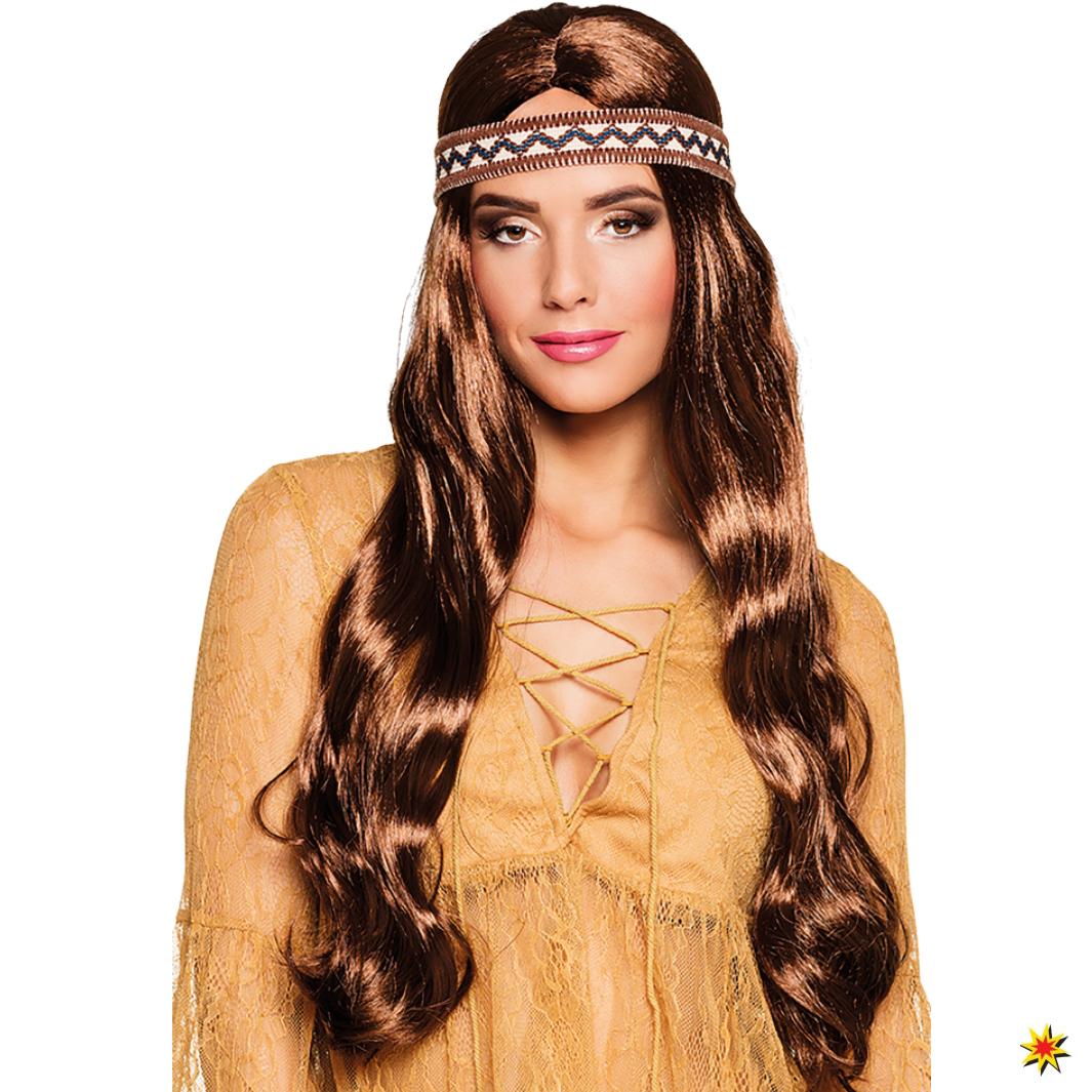 Perücke Haarband braun Damen Langhaar Hippie Indianerin