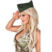 Mütze Army Cap grün Militär Soldat Zubehör Fasching Karneval Mottoparty