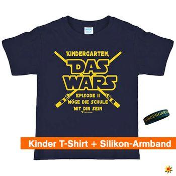 "Schulanfang T-Shirt ""Das Wars"" mit Silikon-Armband, navy"