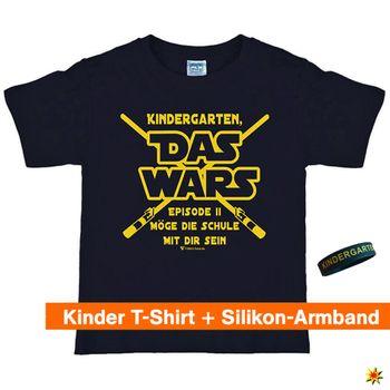 "Schulanfang T-Shirt ""Das Wars"" mit Silikon-Armband, schwarz"