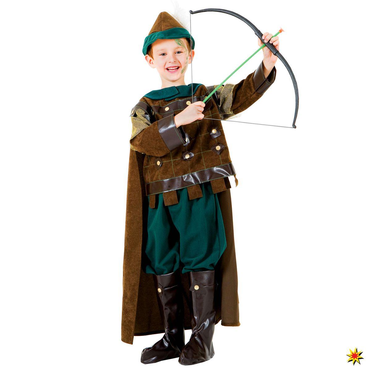 Kinder Kostüm Bogenschütze Kleiner Robin Robin Hood Jäger Waldläufer Mittelalter Fasching Karneval inklusive Spielzeug Pfeil und Bogen