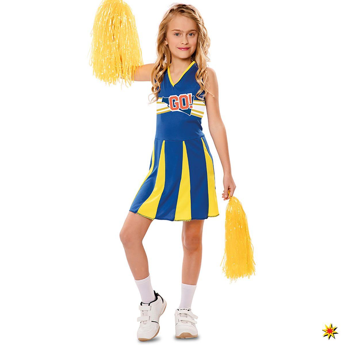 Kinder Kostum Cheerleaderin Blue Arrow Grosse M 5 6 Jahre