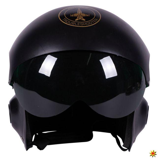 Kampfpilotenhelm schwarz Helm Kopfbedeckung Air Force Kampfpilot Kostüm Zubehör Fasching Karneval Mottoparty