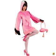 Damen Kostüm Flamingo Rosalie mit Handtasche Kleid rosa Tier Vogel Fasching Karneval