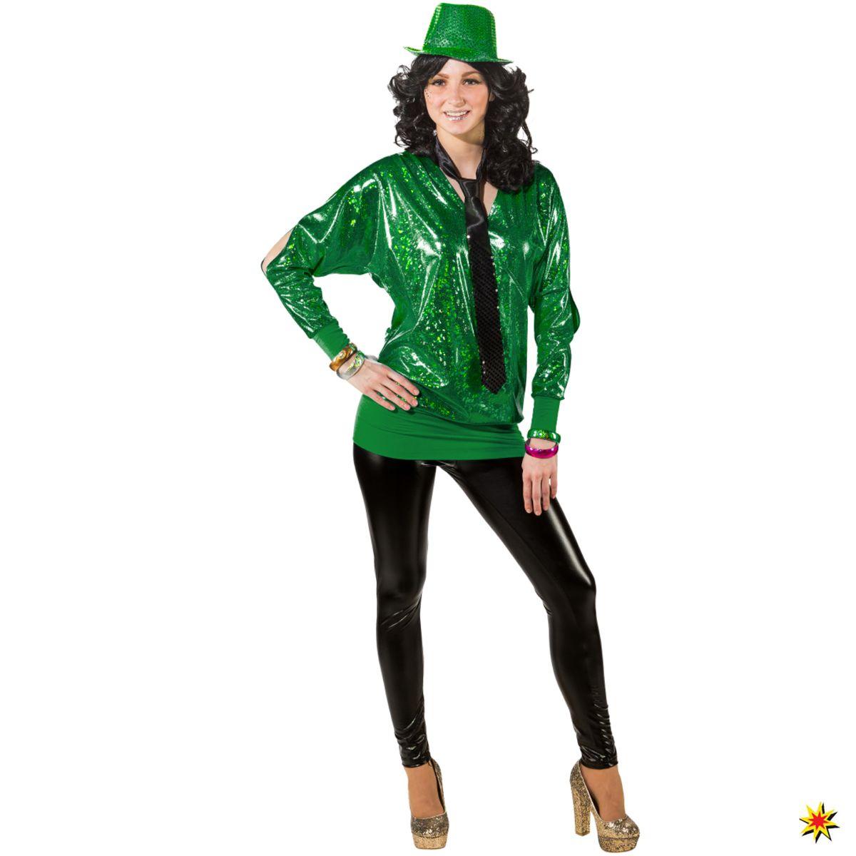 Damen Kostüm 90er Wickelshirt grün 80er 90er Retro Mottoparty Fasching Karneval