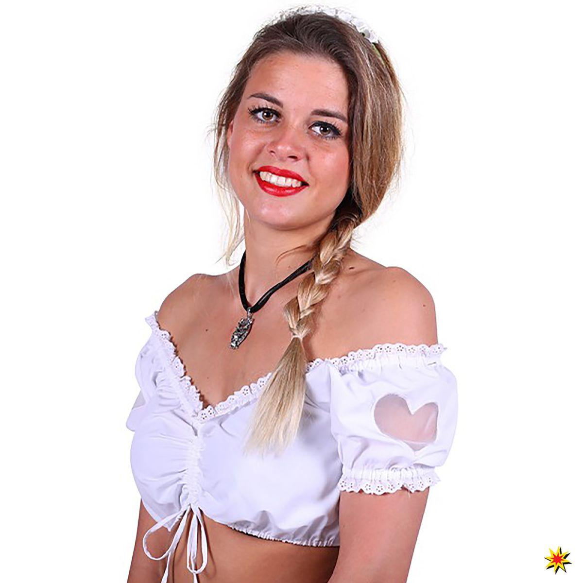 Damen Kostüm Dirndl Bluse mit Herz Julia Oktoberfest Wiesn Zubehör Fasching  Karneval 307489b6bd