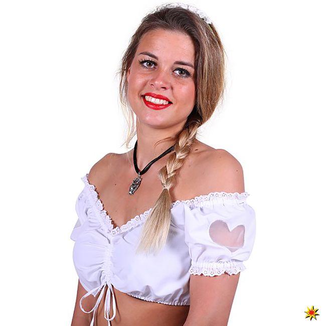 Damen Kostüm Dirndl Bluse mit Herz Julia Oktoberfest Wiesn Zubehör Fasching Karneval