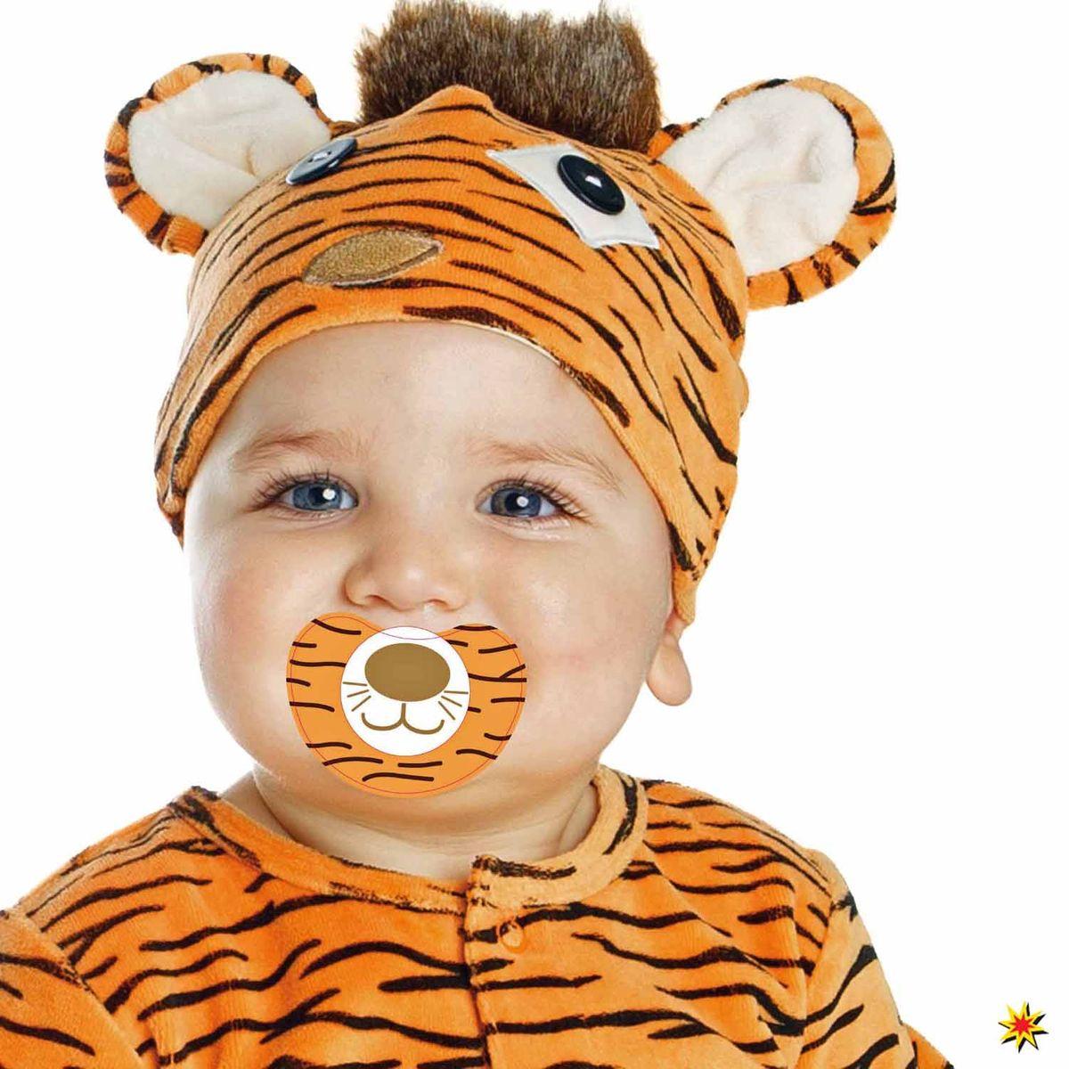 baby kost m mini tiger mit schnuller schlafanzug gr e 80 86. Black Bedroom Furniture Sets. Home Design Ideas
