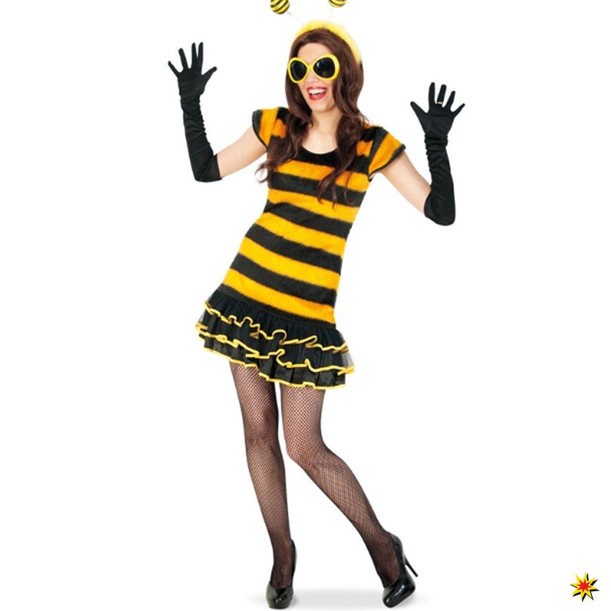 Damen Kostüm Biene Sunny Kleid Tier schwarz gelb Hummel Fasching Karneval Mottoparty