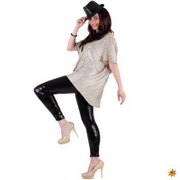 Damen Kostüm Leggings mit Pailletten, schwarz