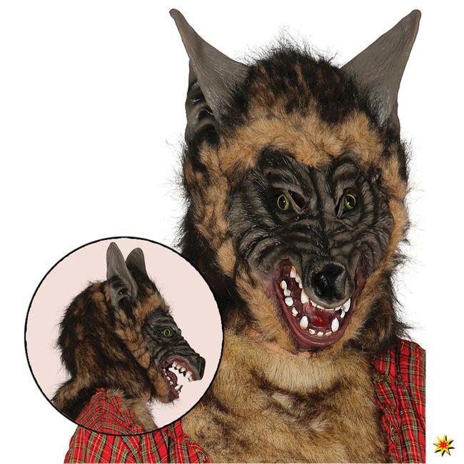 Maske Böser Wolf  Einheitsgröße Tier Märchen Kojote Hund Werwolf Halloween Fasching Karneval Mottparty