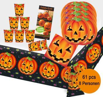 Party-Set Halloween Kürbis für 8 Personen, 61 Teile