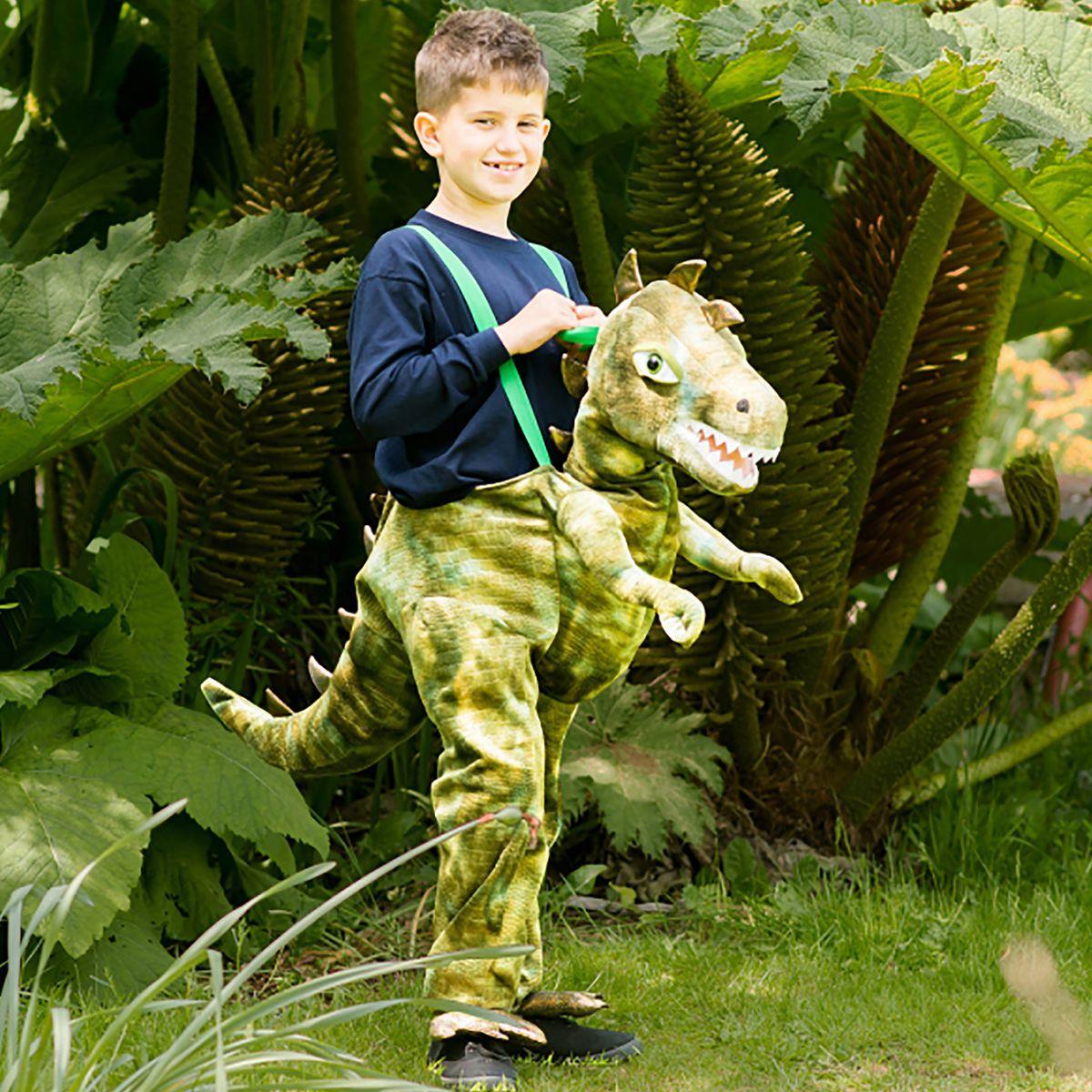 Kinder Kostüm Tragmich reitender Dino T-Rex grün Huckepack Carry me Steinzeit Tier Fasching Karneval Kinderfasching Mottoparty