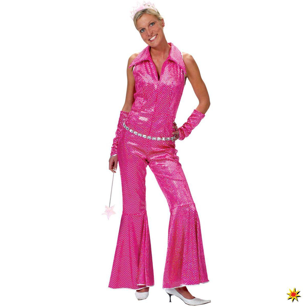Damen Kostum Disco Girl Jumpsuit Pink Grosse 36 38