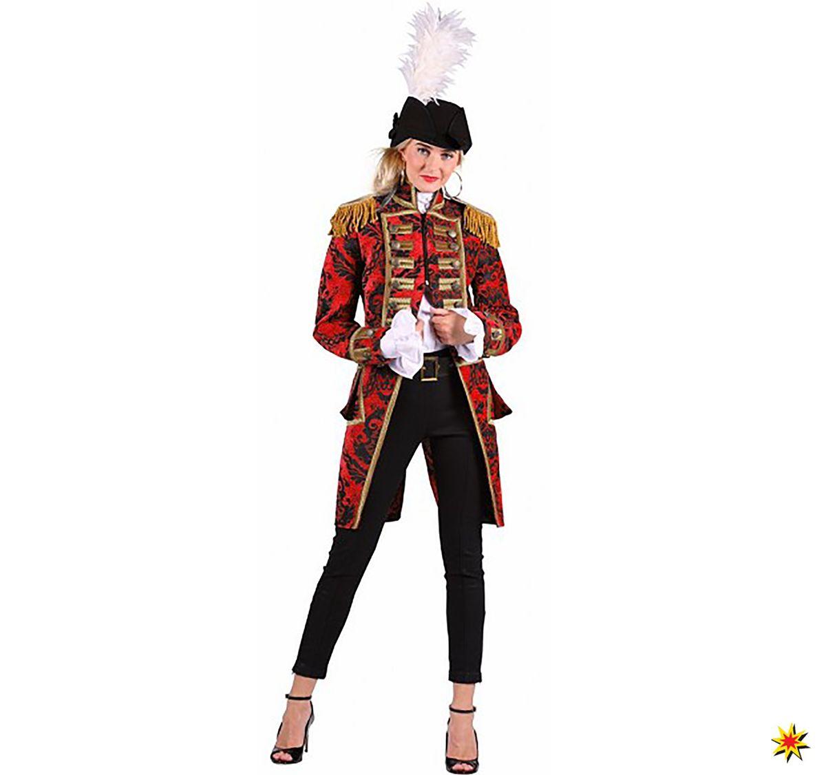 Damen Gardefrack Ornamente Rot Grosse M