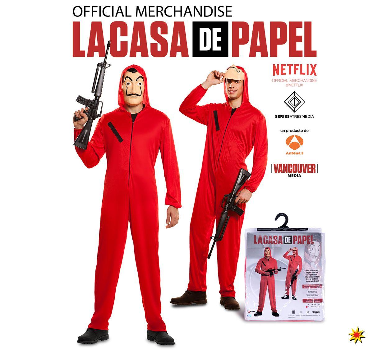 Herren Kostüm Phantom Haus des Geldes Gelddieb inkl. Maschinengewehr La Casa de Papel Fasching Karneval Mottoparty Gruppenkostüm