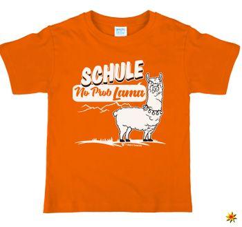 Kinder T-Shirt Schulanfänger Schule No Prob Lama, orange