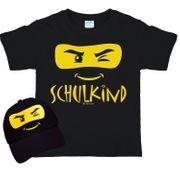 Kinder T-Shirt Schulkind ABC-Schütze inkl. passendem Basecap schwarz Ninja Maske Einschulung Abschied Kindergarten Zuckertüte Erstklässler Geschenk Geschenkidee Zuckertüte