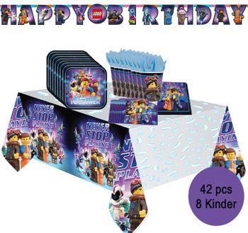 Party-Set Happy Birthday Kindergeburtstag Lego Movie 2, 42-tlg.