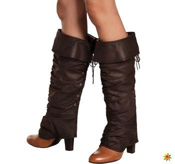 Damen Stiefelstulpen Robin Hood Piraten Gamaschen in brauner Lederoptik, Kostüm-Zubehör