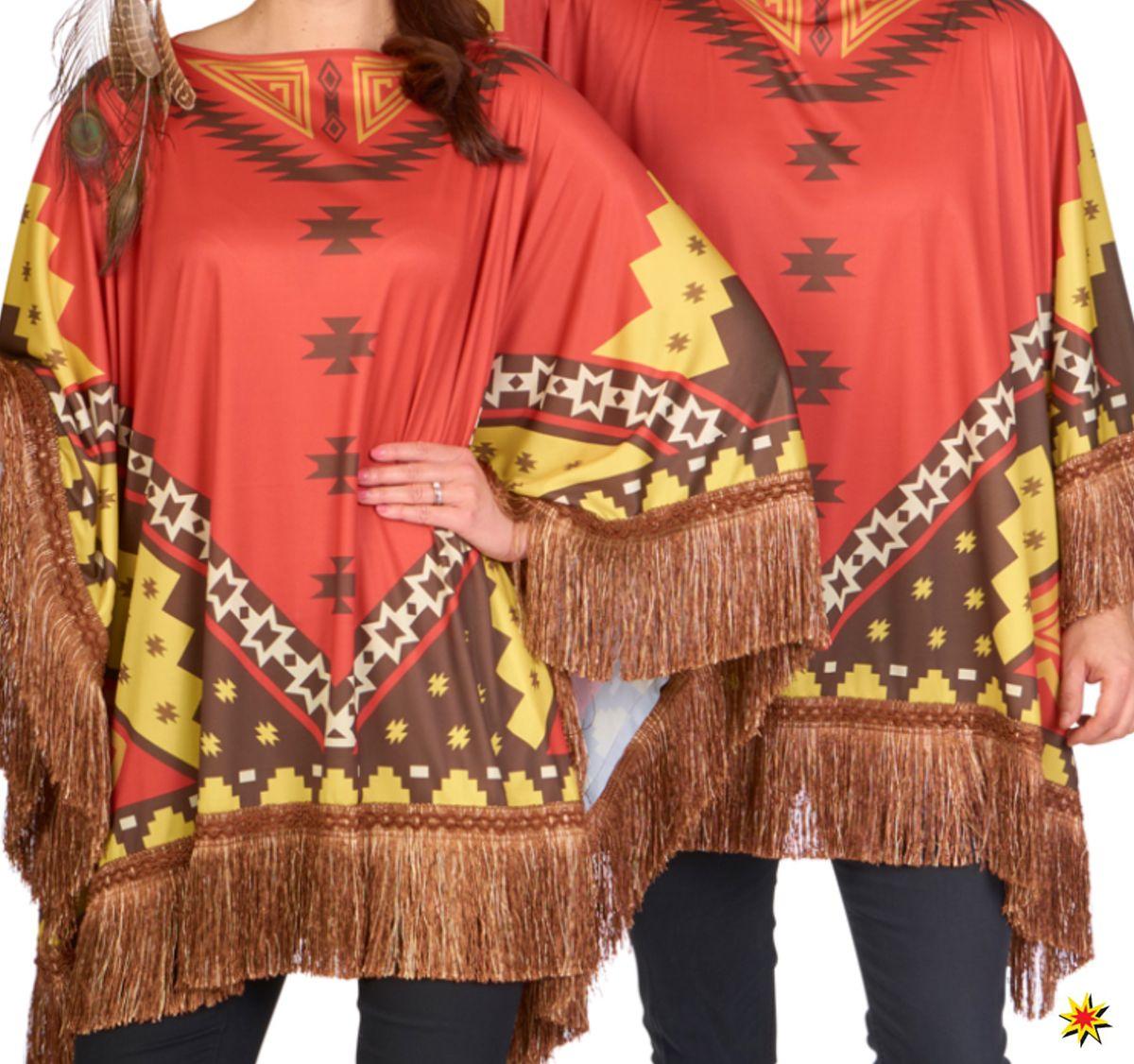 b170e284f353ea Unisex Kostüm Ethno Indianer Maya Poncho bunt Fransen-Poncho Damen Herren  Fasching Karneval Mottoparty