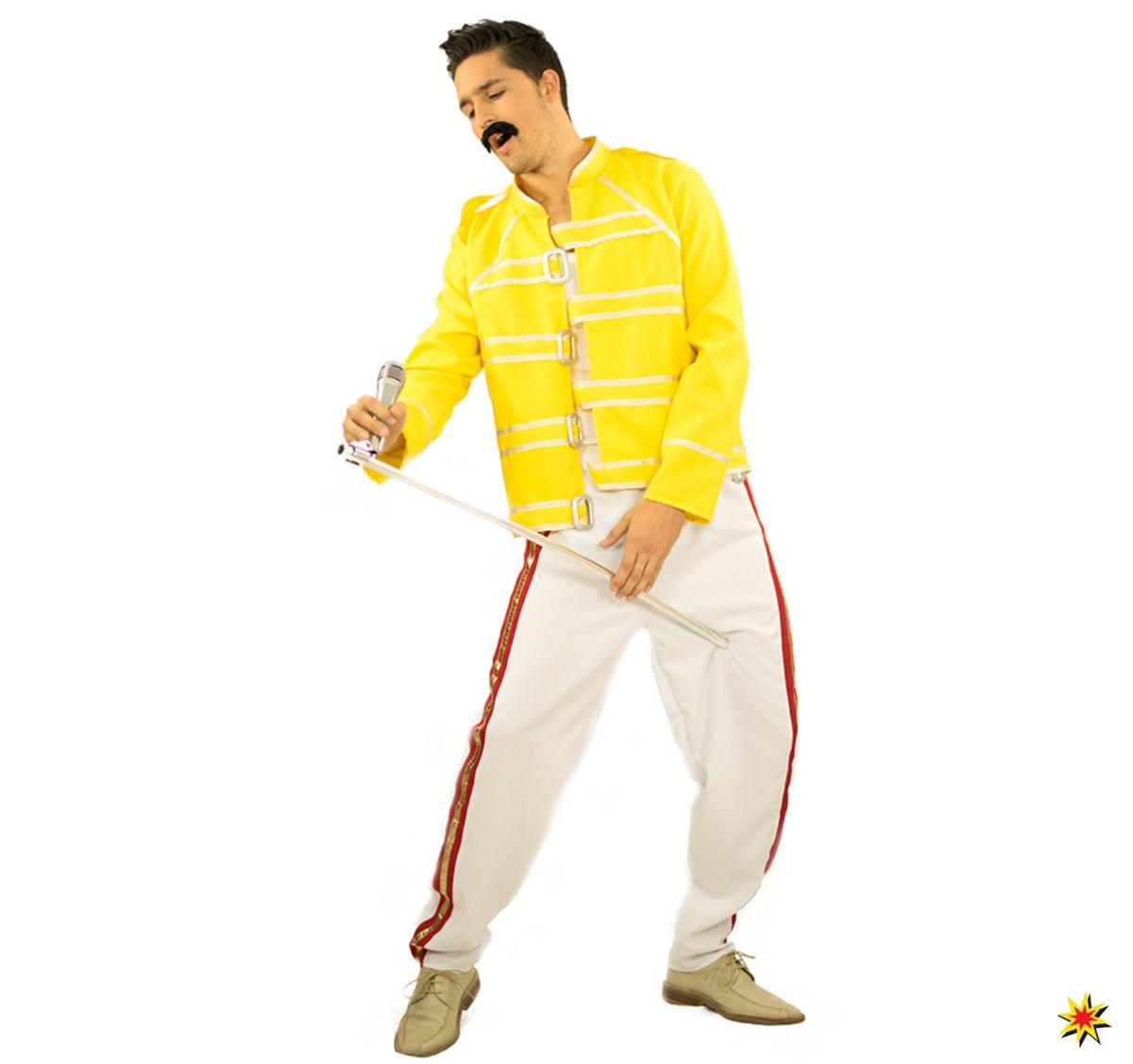 Herren Kostüm Rockstar Sänger Freddie Musiker 80er Fasching Karneval Mottoparty