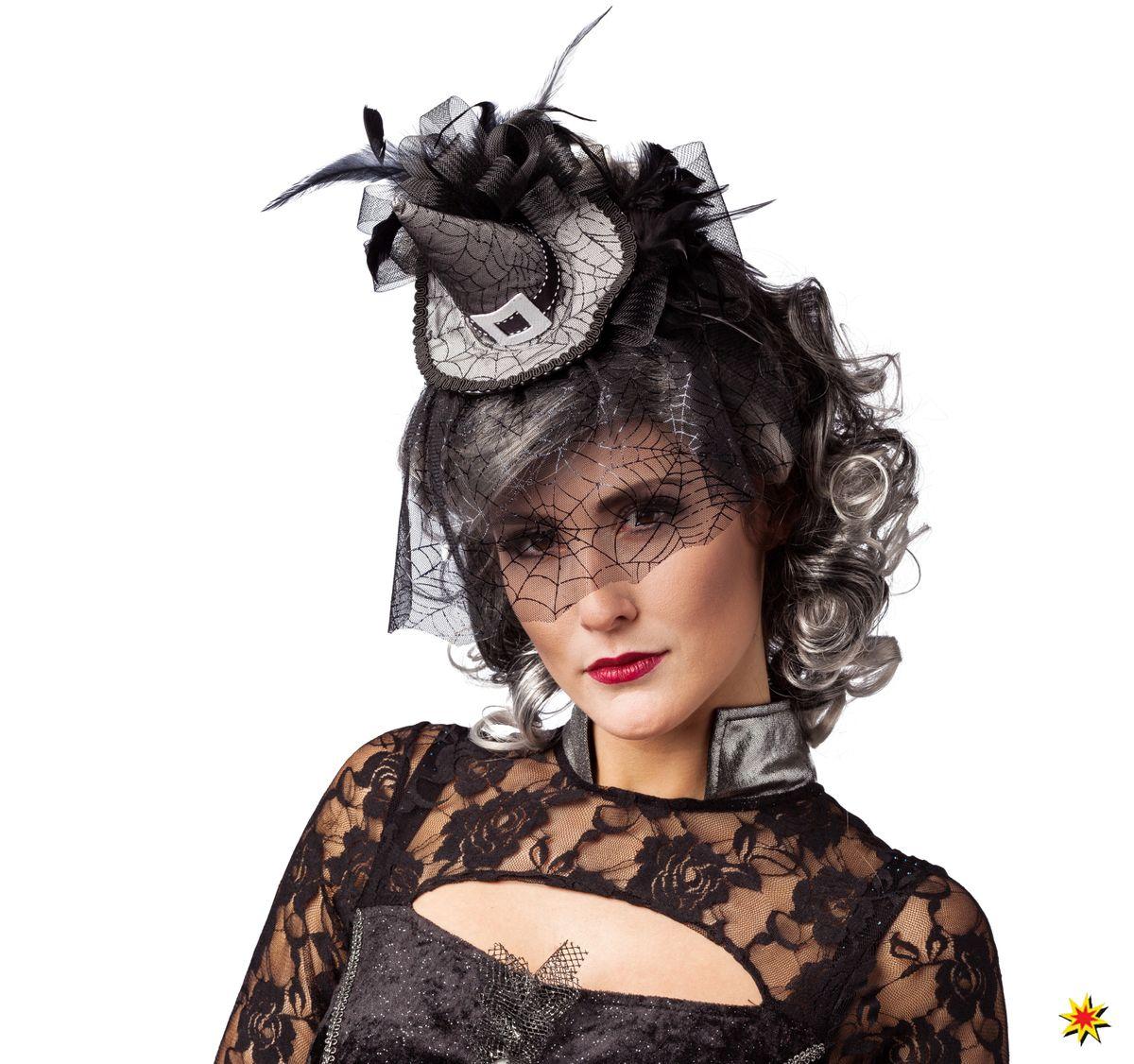 Damen Hut Halloween Spinne Hexe Grau Minihut