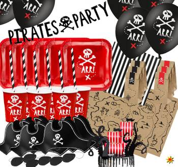 Party-Set Kinder Geburtstag Pirat Deko Luftballons, 72-tlg. deluxe