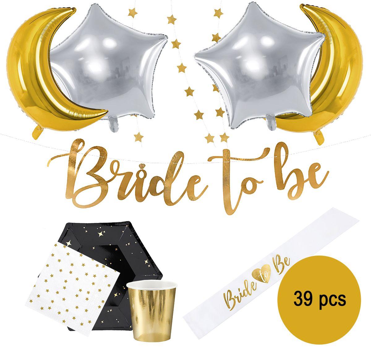 "Party-Set Junggesellinnenabschied ""Bride to be"" schwarz gold Folienballons Schärpe, 39-tlg. Geschirr-Set JGA"