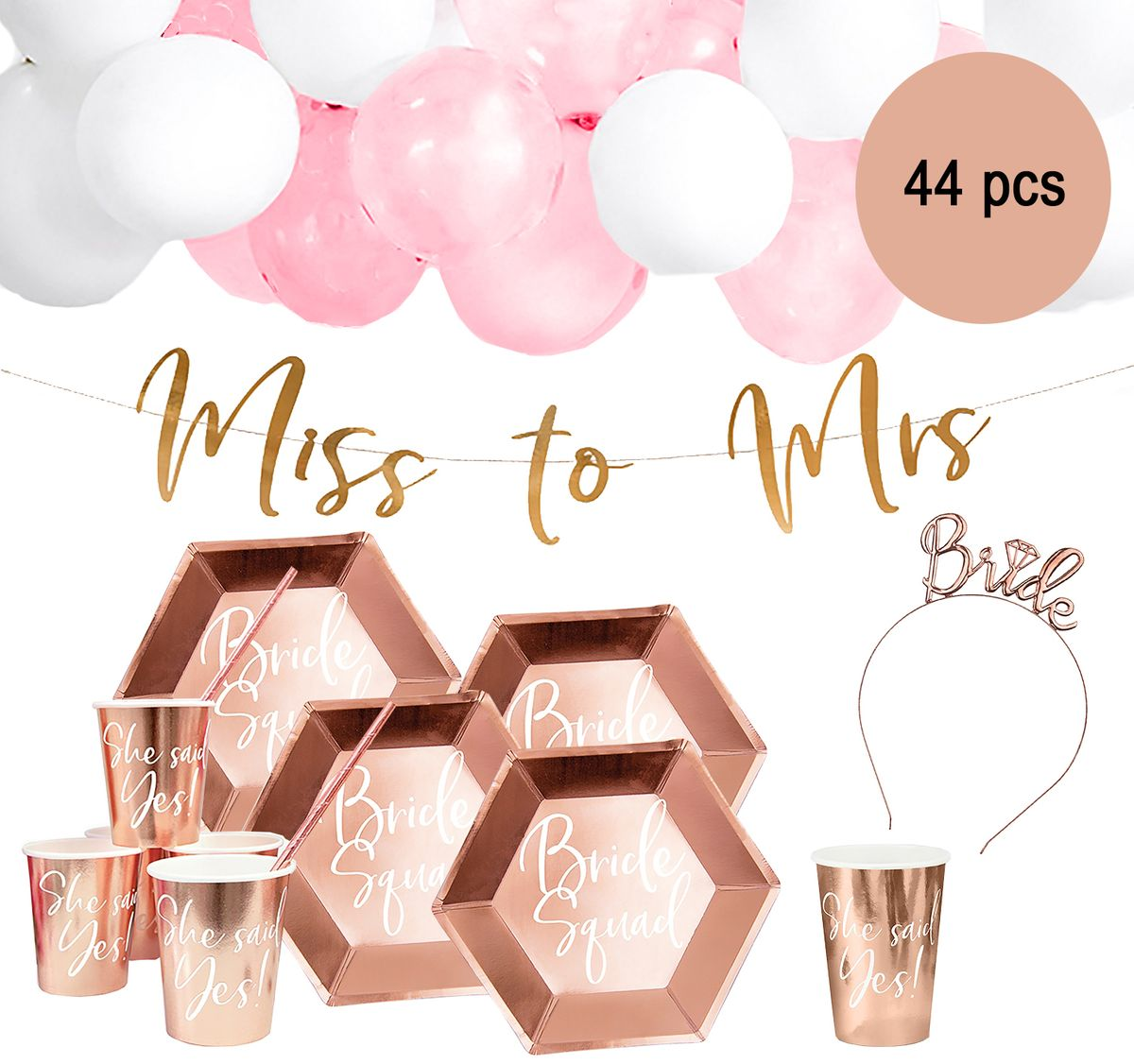 Party-Set Junggesellinnenabschied Bride to be roséfarben 44-tlg. JGA Mottoparty