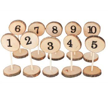 Tisch Nummernhalter aus Holz nummeriert Hochzeit Geburtstag, 10 Stück