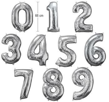 Ballon Luftballon Zahl 0 bis 9 silber 66 cm Geburtstag Hochzeit Deko