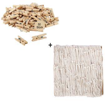 Deko-Set Fischernetz Fotonetz 120 x 250 cm und 50 Mini-Wäscheklammern 2cm