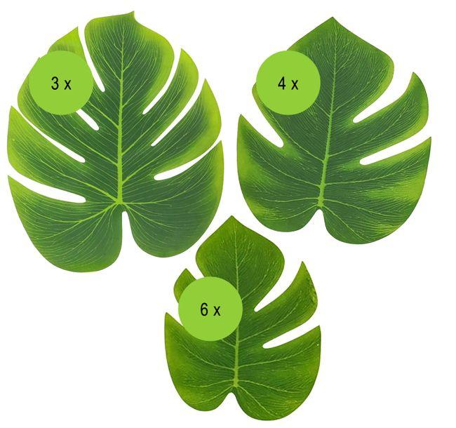 Mottoparty Party-Deko Tropical Hawaii Palmenblätter verschiedene Größen 13 Stück Hochzeit Geburtstag Tischdeko