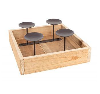 Advents Metall Holz Kerzenhalter Adventskranz Tischdeko