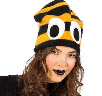 Bienen Fleece Mütze mit Augen schwarz-gelb Kostüm-Zubehör