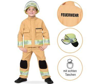 Feuerwehr Kostüm für Kinder sandfarben Berufs-Feuerwehr inkl. Helm