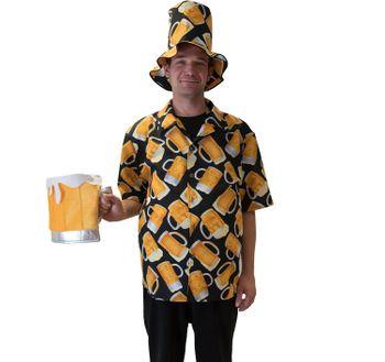 Herren Bier Kostüm Haiwaii-Hemd mit Bier Motiv inkl. Hut
