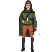 Unisex Kinder Kostüm Robin Hood Bogenschütze Ariel 5-12 Jahre grün Fasching Walddieb Karneval Kinderfasching