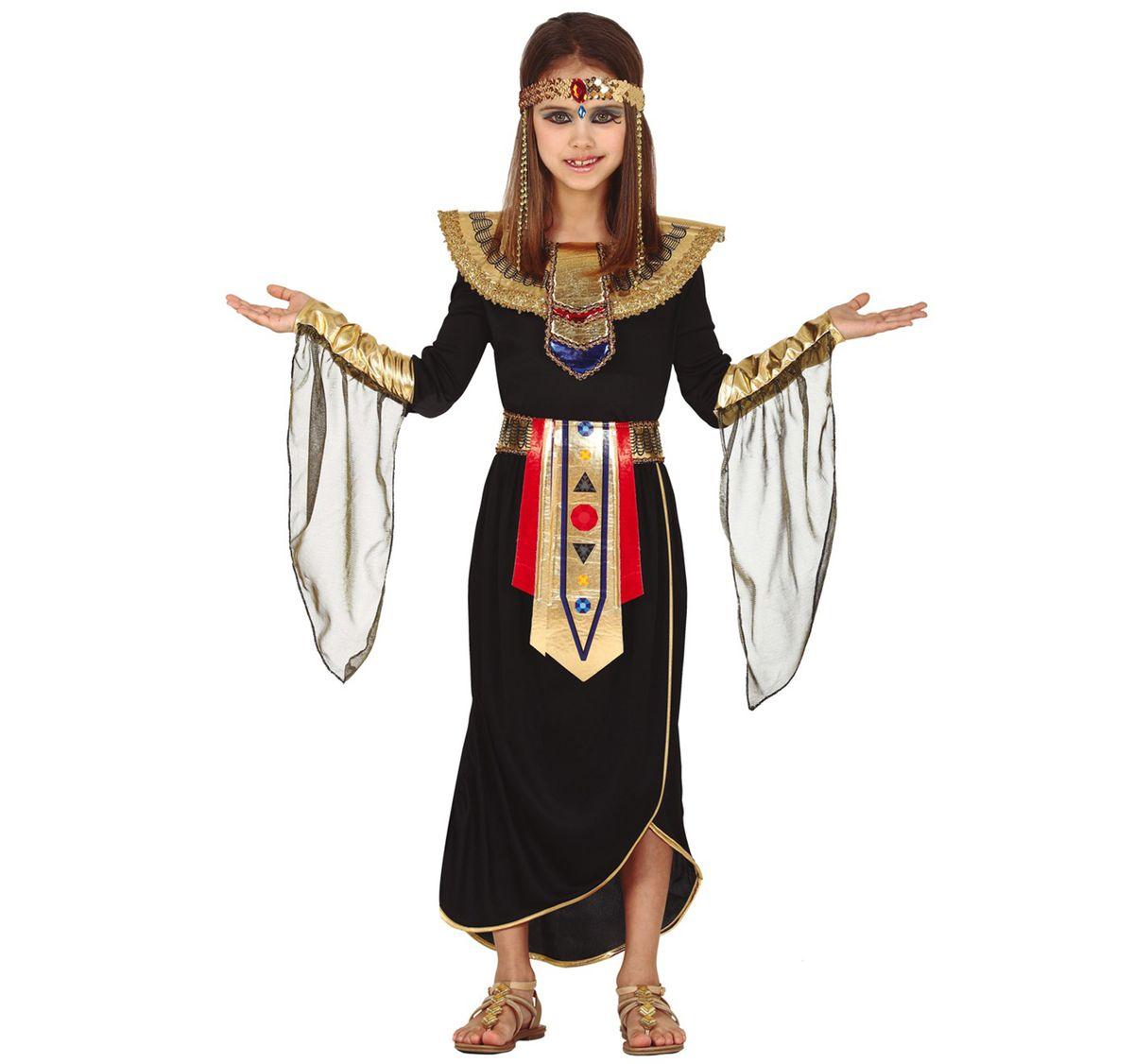 Kinder Kostüm Nofrete Ägyptische Königin 5-9 Jahre Kleid schwarz Fasching Karneval Cleopatra Kinderfasching