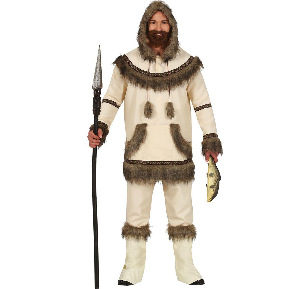Herren Kostüm Eskimo Mark Gr. M-L weiß Inuit Fasching Karneval Jäger Mottoparty Paarkostüm